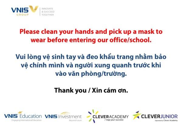 Thông báo yêu cầu đeo khẩu trang và rửa tay - VNIS Group
